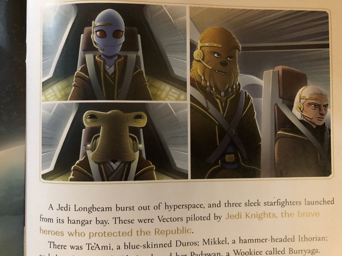 In Light of the Jedi, Te'Ami is green-skinned, but in the Great Jedi Rescue she is blue. Are Duros chameleons? 😝 Regardless, I'm still enjoying the books! #HighRepublic #StarWars