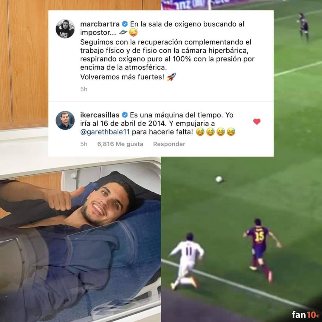 ⚠️ Tremenda trolleada de #IkerCasillas a su ex compañero de selección #marcbartra recordándole el gol de Bale en la final de la  Copa del Rey de 2014 👑⚽️
