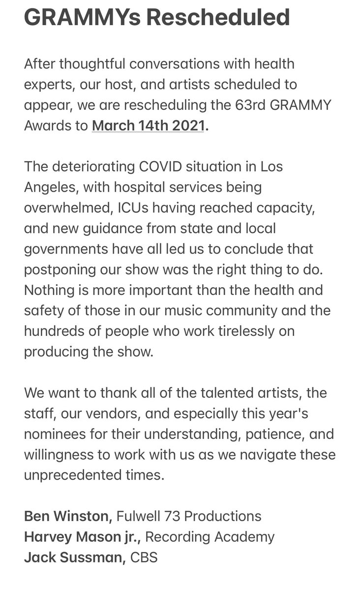 We've taken the decision to reschedule the Grammys. March 14th it is. Statement below.