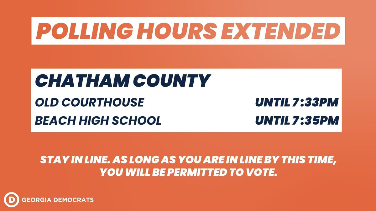 Polling hours in certain precincts in Chatham County have been extended. If you are in line by the time the polling place closes, STAY IN LINE! They must let you vote. If you have any issues or questions, call our Voter Protection Hotline at 888-730-5816.