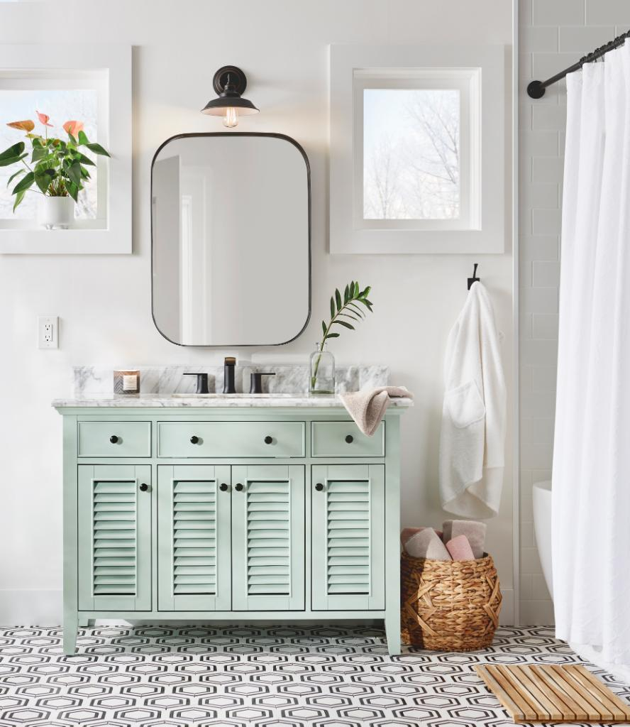 Experience a spa-like retreat without leaving your home with a stylish bathroom upgrade. Shop everything you see here online at The Home Depot. https://t.co/RSVkOluyYG https://t.co/ygeioXvEwX