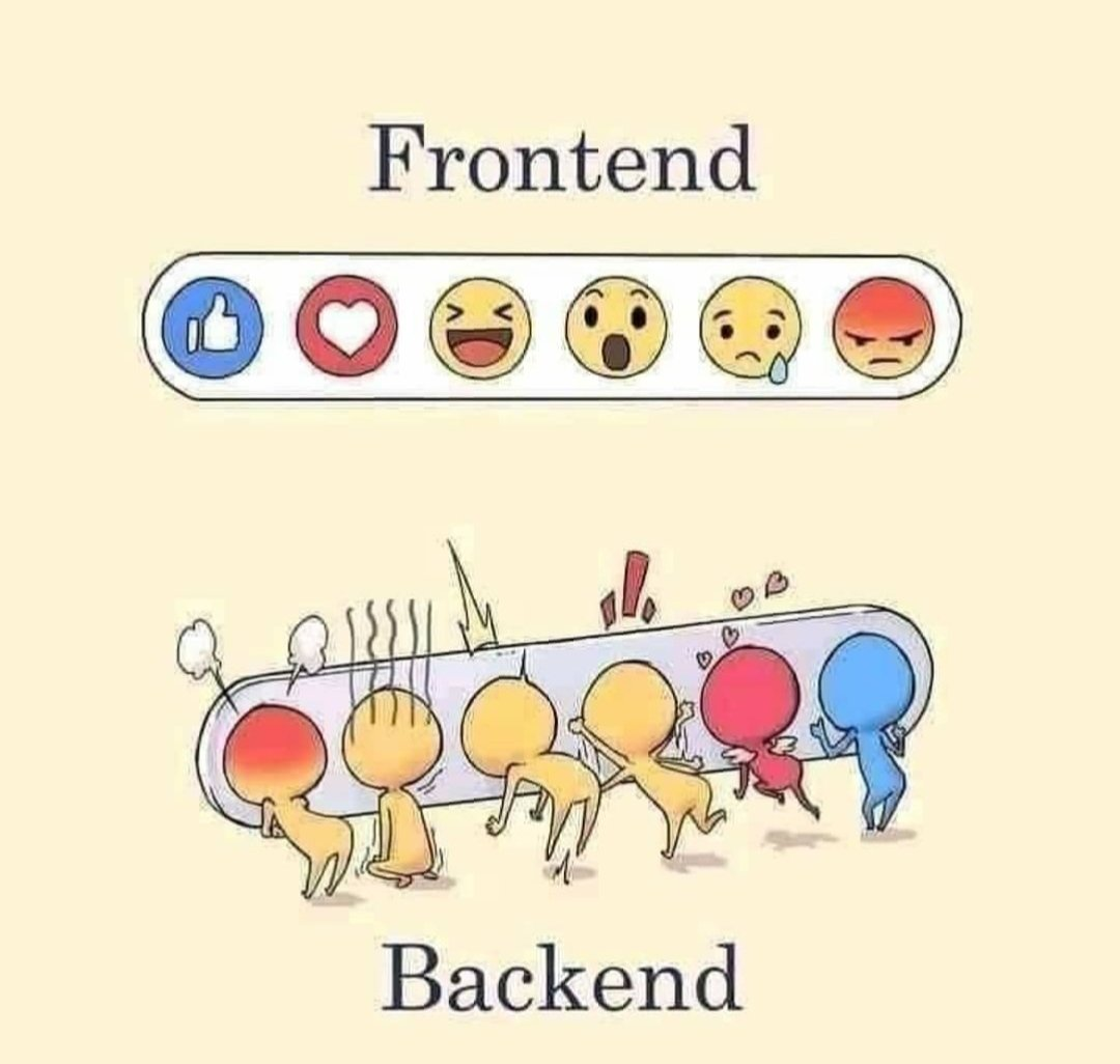 A new way to understand Frontend and Backend development 😅. #programming #coding #FrontEnd #javascript #Python #100daysofcoding #100DaysOfCode #programmingmemes https://t.co/D01Y2V9XGB