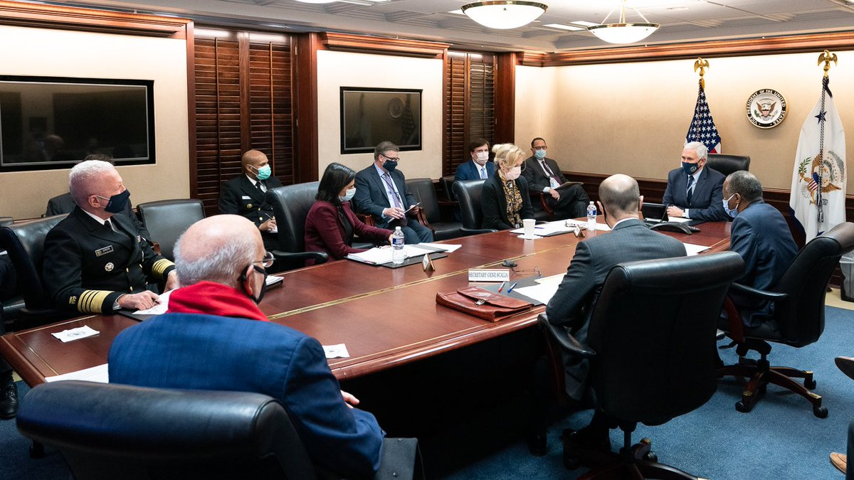 Great @WhiteHouse Coronavirus Task Force meeting today as we continue to work closely with states & deliver the Coronavirus Vaccine to MILLIONS of Americans. Under President @realDonaldTrump, we developed a Safe & Effective vaccine in record time. Hope & Healing are on the way!