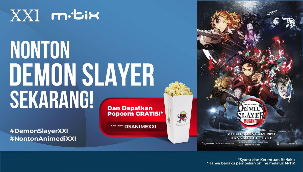 Nonton DEMON SLAYER di Cinema XXI langsung dapat Popcorn gratis!  Saaatnya merapat HARI INI kita #NontonAnimediXXI yaa. Jangan lupa belinya pakai M-Tix karena dapat Popcorn lho 😍 Info lengkapnya silakan cek di sini yaa   #DemonSlayerXXI #NontonAnimediXXI