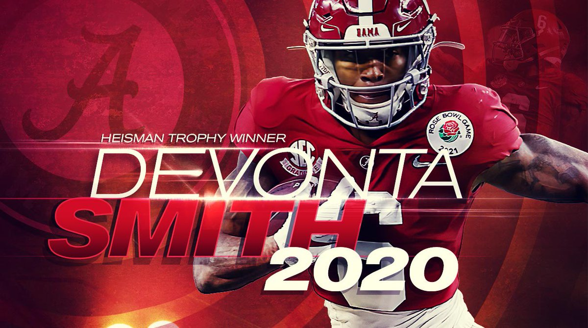 Replying to @HeismanTrophy: Congratulations to DeVonta Smith, our 2020 Heisman Trophy winner!