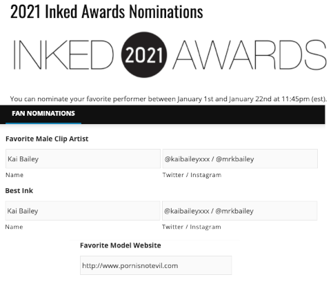 2021 @InkedAngels Inked Awards are almost upon us! Please vote for me in these categories! Follow the