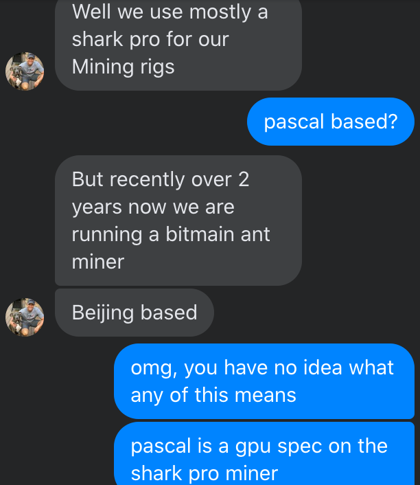 LOL at this dude trying to sell me his crypto mining scam without even knowing what a GPU is. https://t.co/qe2YHYKLX2