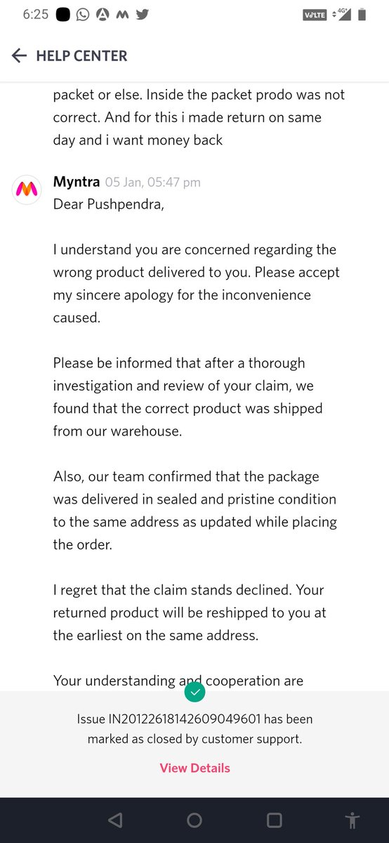@MyntraSupport @myntra #myntraendofreasonsale This is how they fooled me. Its started on 26 December and ends on 5 January with no resolution. @MyntraSupport i want my mont back, not in mood to keep wrong product.