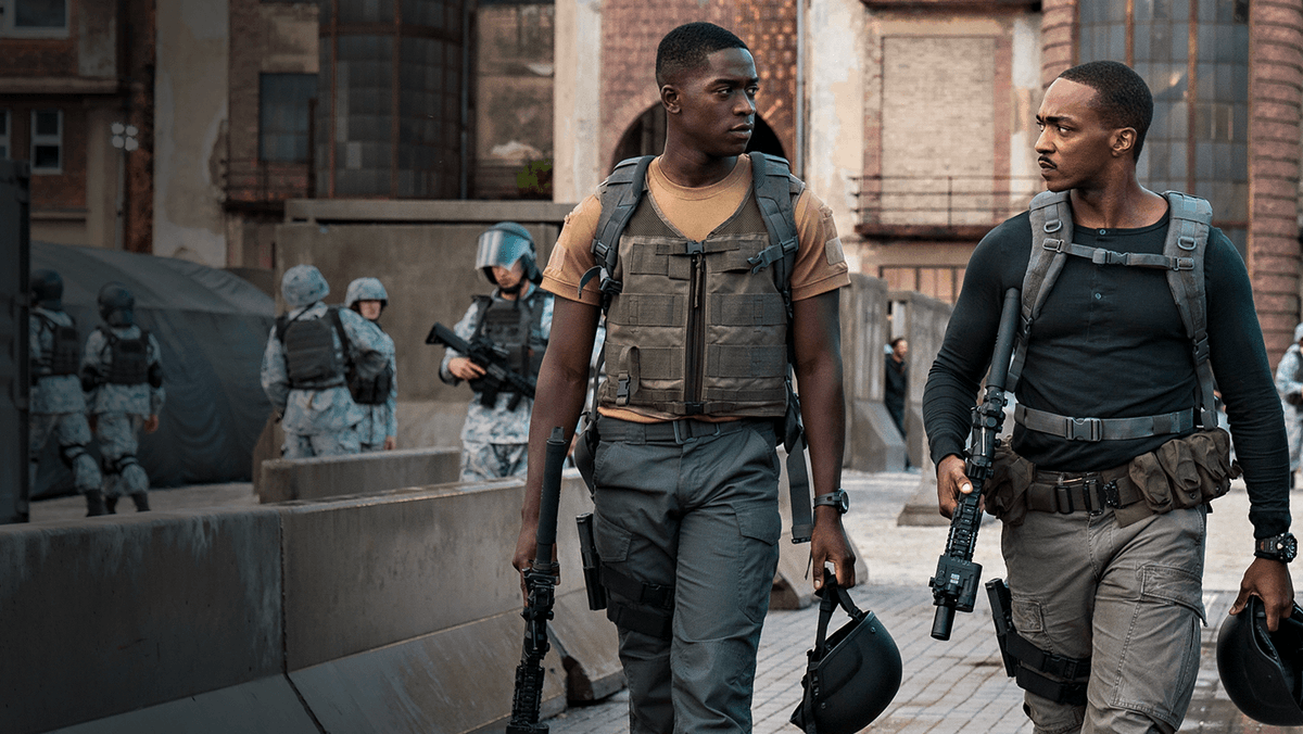 """// """"My existence is classified.""""  >> Anthony Mackie and Damson Idris take aim at artificial intelligence in the action thriller OUTSIDE THE WIRE  < now streaming on Netflix >"""