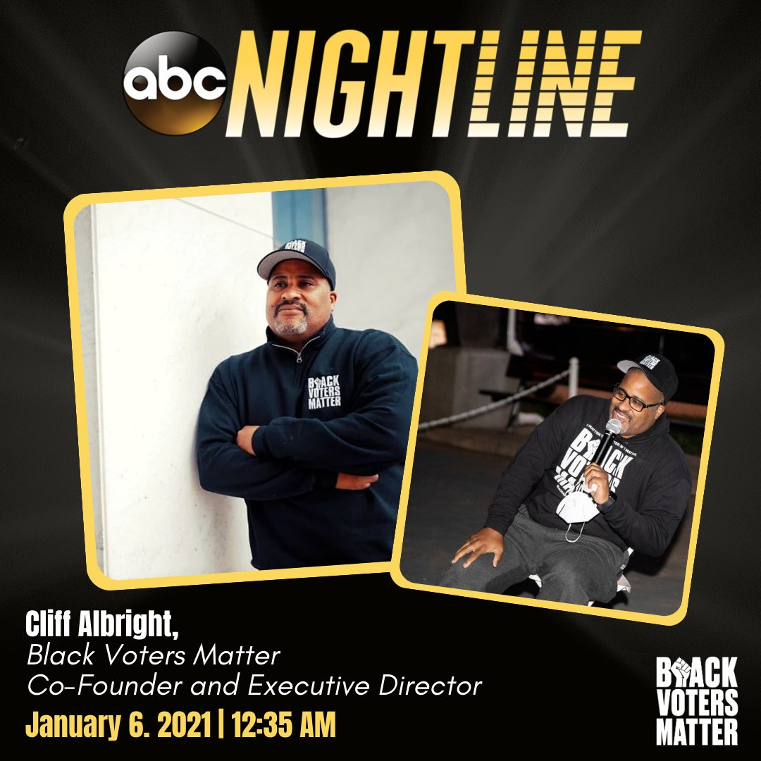 Still up watching election updates? Be sure to tune into @Nightline to hear our Co-Founder and Executive Director, @cliff_notes, discuss the Georgia Special Election and the impact of organizing. #LetsDoItAgain #BlackVotersMatter ✊🏾