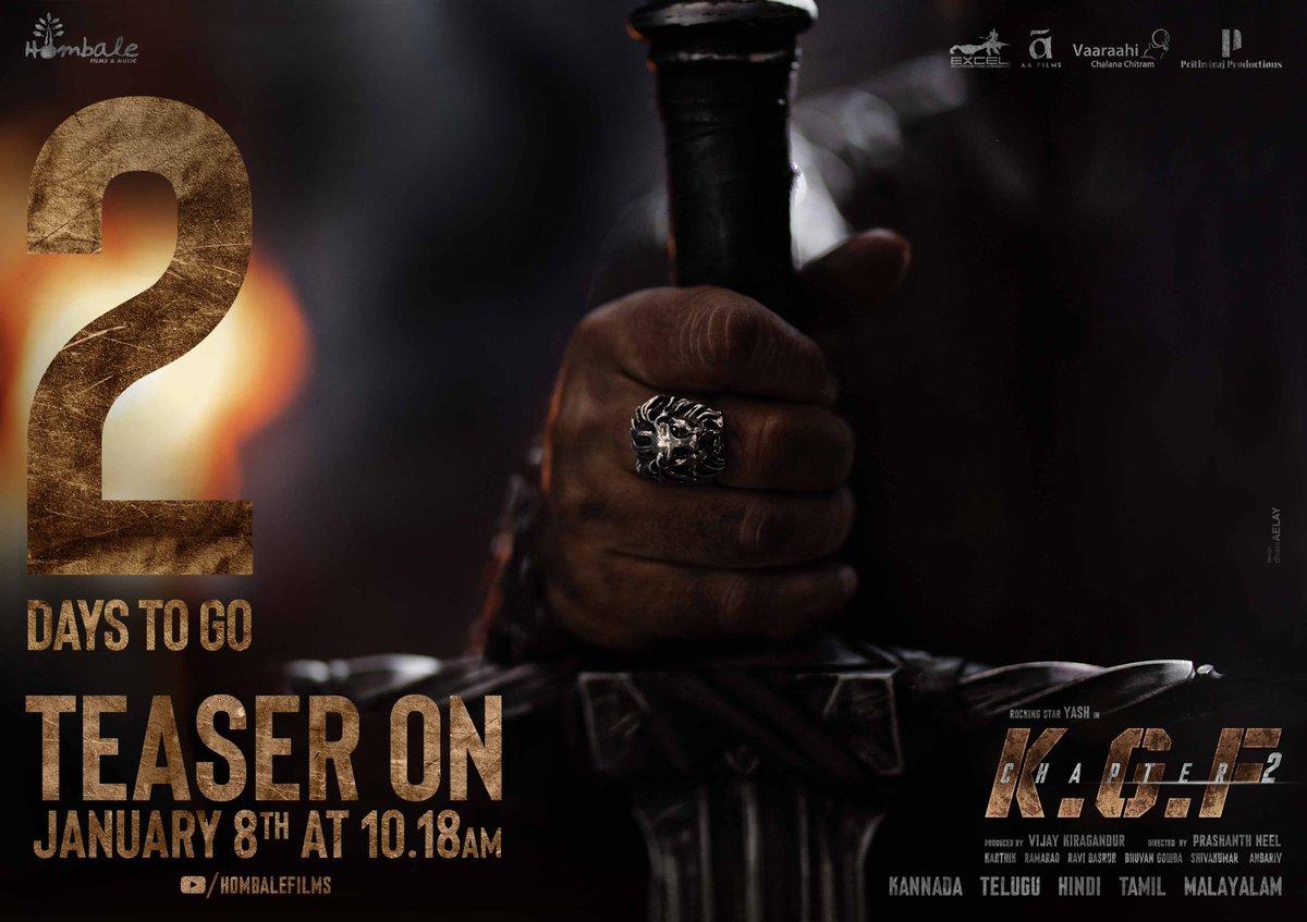 2 days to go ⚔️ Presenting #Adheera.  #KGFChapter2TeaserOnJan8 at 10:18 AM on @hombalefilms Youtube channel:   ♥️ or RT to get a personal reminder.  @VKiragandur @prashanth_neel @TheNameIsYash @SrinidhiShetty7 @TandonRaveena @BasrurRavi @bhuvangowda84