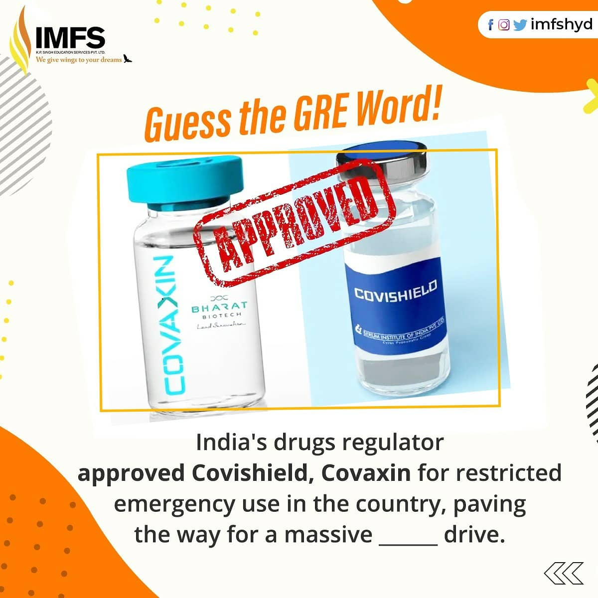 Here's the word of the day. Comment below 👇 how would you use Inoculation in a sentence. . . . #IMFS #IMFSHyderabad #StudyAbroad #AbroadEducation #OnlyIMFS #covid19 #inoculation #India  #Science #pmmodi #modi #covidinindia #bharatbiotech #Vaccines4All