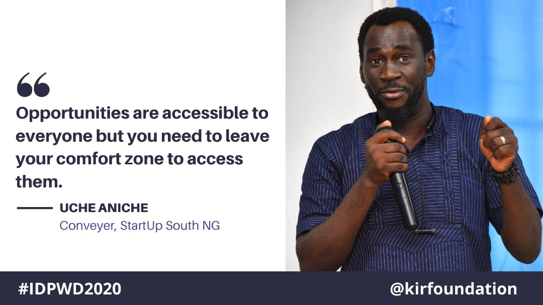 """For our first #LeadershipWednesday for the year 2021, here's a quote from Uche Aniche of @StartupSouthNg during the one day workshop on """"The ICT Opportunities For Disability-Inclusive Development"""" on the #IDPWD2020. Read about it:   #wednesdaythought"""