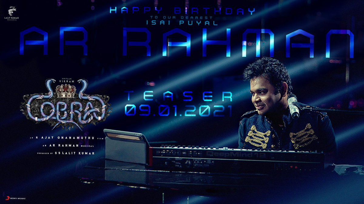 Wishing #Isaipuyal @arrahman a wonderful day! 🥳  Here's a surprise from Team #Cobra! 🔥  The stunning #CobraTeaser will be out on 9th Jan! 😎  #ChiyaanVikram @AjayGnanamuthu @Lalit_SevenScr @7screenstudio @IrfanPathan @SrinidhiShetty7 @dop_harish