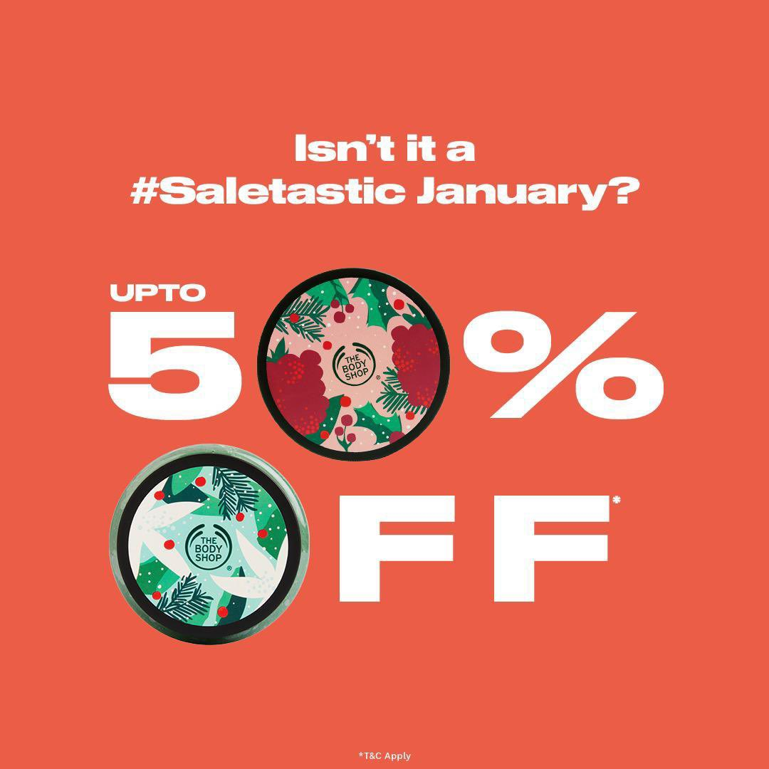 Get up to 50% OFF in our biggest sale of the year and #Saletastic deals. Stock up nourishing and body loving treats by @thebodyshopindia NOW. Offers last only this month! Shop Online (link in bio), in-store or home delivery call +917042004412 #TBSInd #Hurry #Discount #Sale