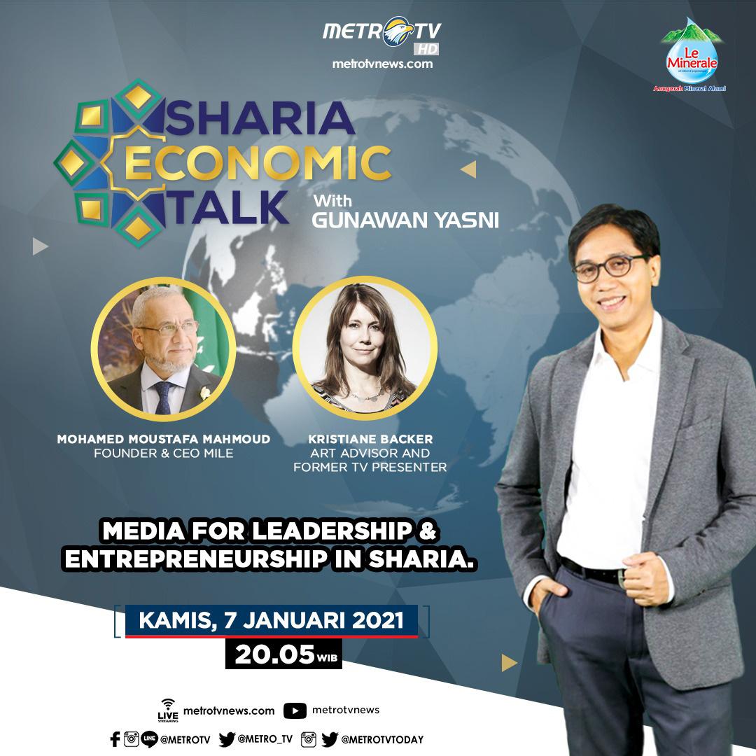 #ShariaEconomicTalkMetroTV hari Kamis (7/1) pukul 20.05 WIB akan membahas peran media dalam mengkomunikasikan gagasan syariah, bersama Mohamed Moustafa Mahmoud (Founder & CEO MILE) dan Kristiane Backer (Art Advisor and Former TV Presenter).  #MedcomAd