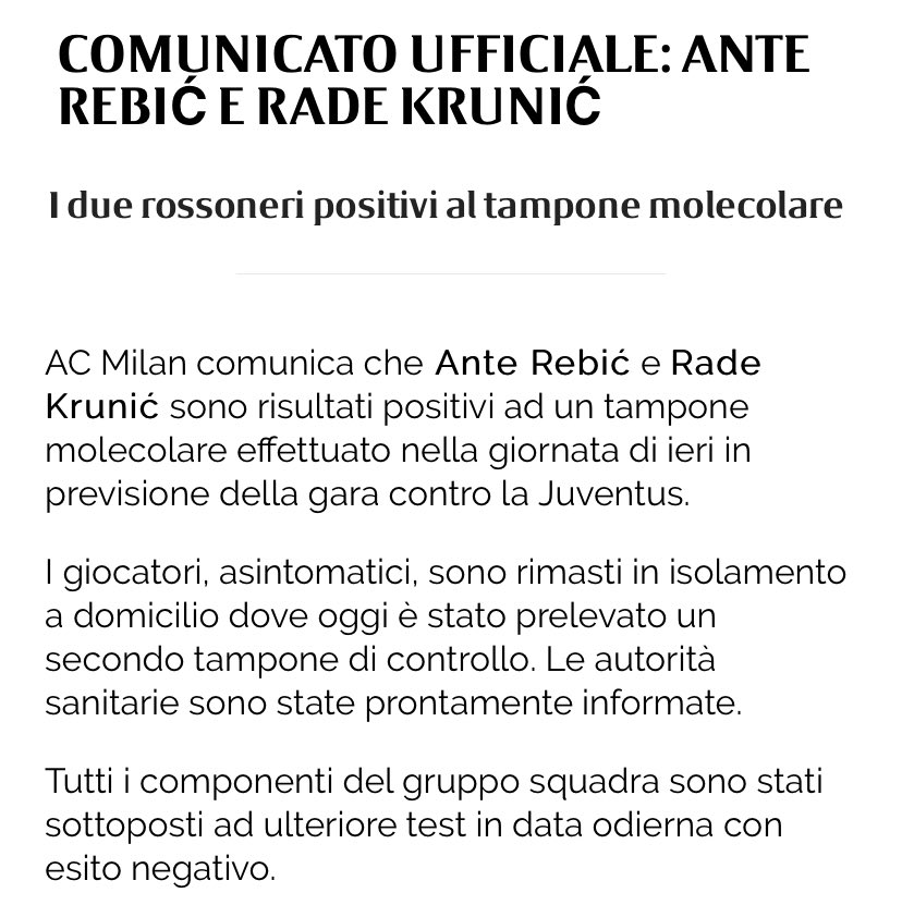 Replying to @MilanEye: BREAKING: Rebic and Krunic test positive for coronavirus and won't be available against Juventus