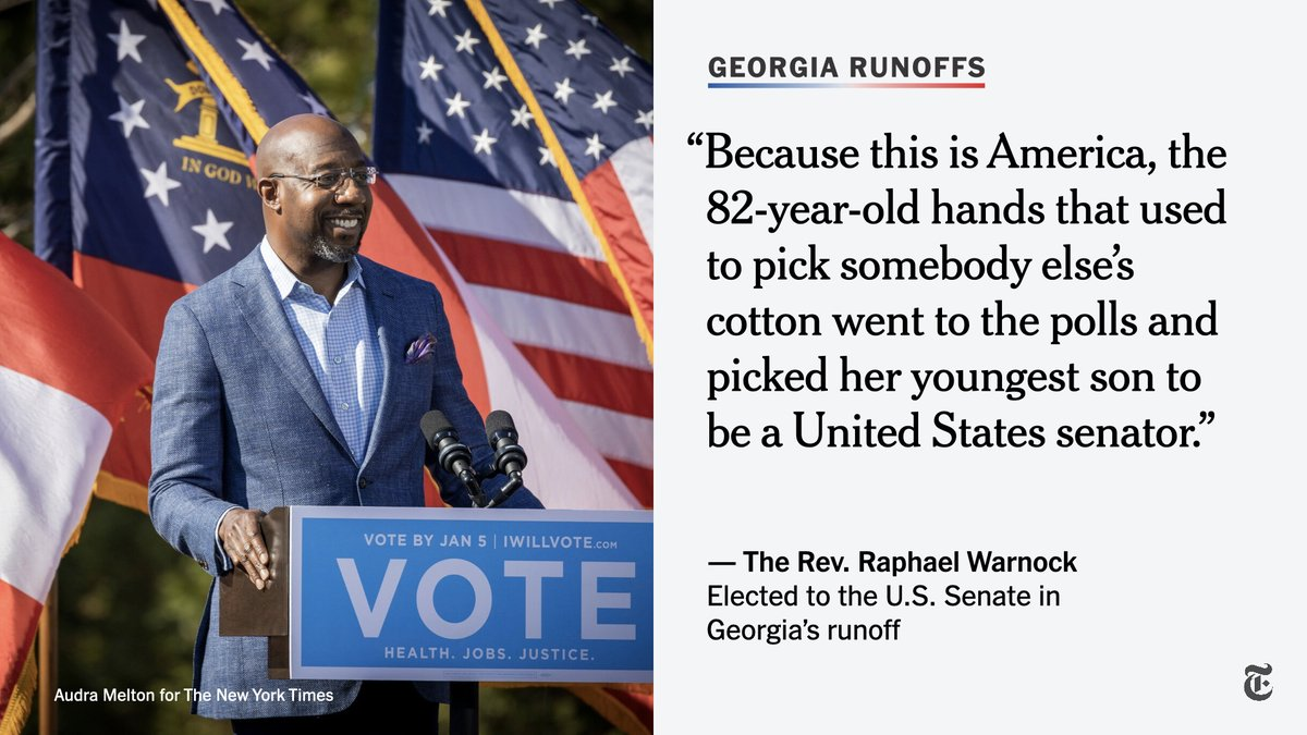 "The New York Times on Twitter: ""The Rev. Raphael Warnock spoke on Wednesday  of the pride he felt after his mother, who raised 12 children, cast a vote  for him in Georgia's"