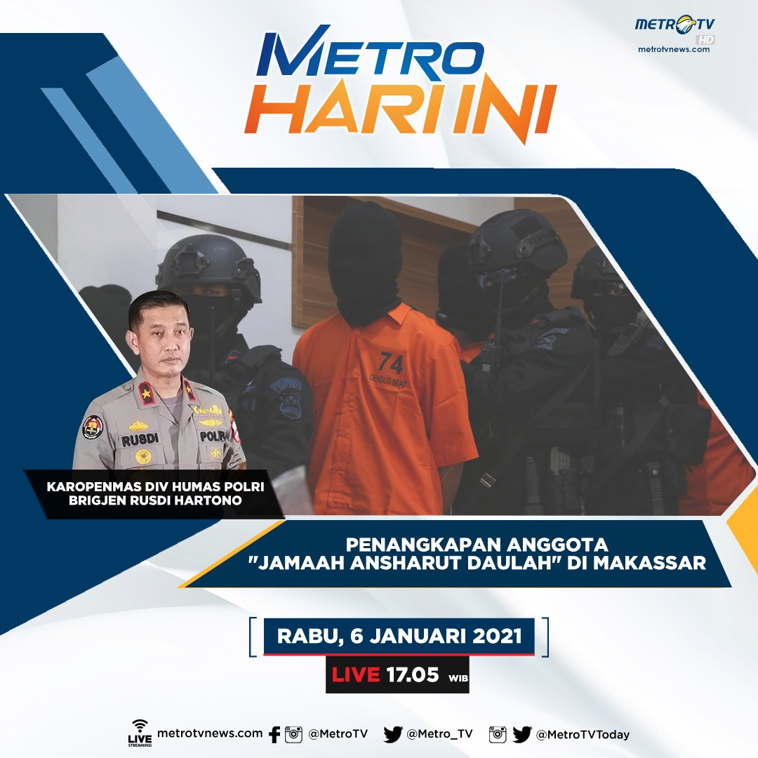 20 terduga teroris diduga anggota Jamaah Ansharut Daulah ditangkap di Makassar, 2 diantaranya terpaksa ditembak mati oleh tim Densus 88. Benarkah para anggota JAD yang kerap melakukan aksi teror di tanah air masih tersebar di Indonesia? #MetroHariIni Rabu (6/1) pukul 17.05 WIB
