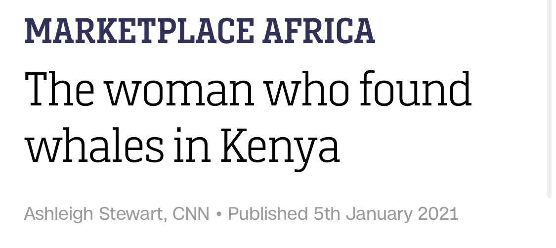 """CNN story on the white lady who """"discovered"""" Kenya has whales. """"We literally came from zero awareness, nobody knew."""" (So how did she? """"It was as simple as talking to a fisherman at the bar & asking if he'd seen any humpback whales & he said 'Sure, we've seen them for 30 years.'"""")"""