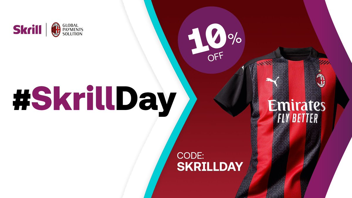 We've teamed up with @acmilan to bring you #SkrillDay🎉  🤩 For 24 hours only you can get 10% off at the AC Milan online store with the code: SKRILLDAY  Hit the link to get shopping👉 https://t.co/BBQkk5bPk5  #skrill #acmilan #MakeYourMoneyMove https://t.co/sJMqBHefZP