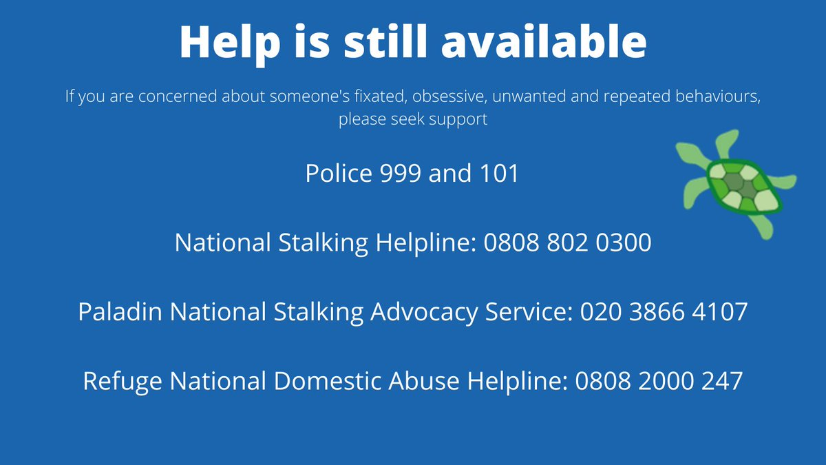 #Lockdown3 does not mean you are alone. If you are worried or frightened by someone's fixated behaviour, reach out for support #YouAreNotAlone