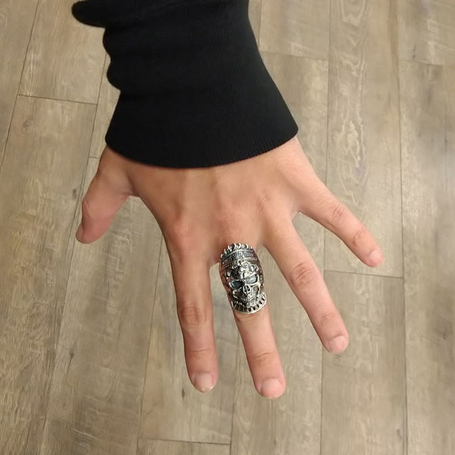 Same silver skull ring on an actual finger.