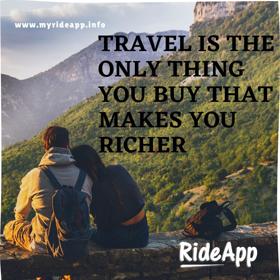 travel is the only thing you buy that makes you richer. - - - - #rideshare #rideapp #quotes #lifequotes #qoutes #quoteoftheday #quites #quotesoftheday #quote #motivationalquotes #dailyquote #qoutesaboutlife #quotestagram #liketime #likeme #followforfollowback #vsco #vscocam