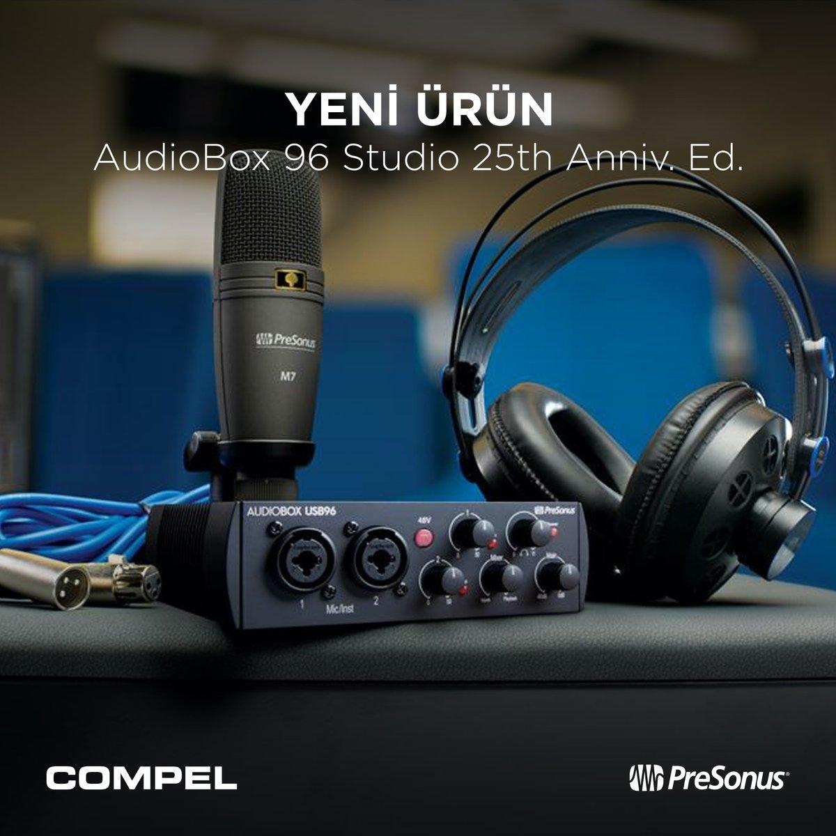 🆕 @PreSonus AudioBox 96 ses kartı, Studio One yazılımı, M7 kondenser mikrofon, HD7 kulaklık ve kablolar ile kayıt yapmaya başlamak için gerekli her şeyin bulunduğu AudioBox 96 Studio'nun 25. yıl özel versiyonu stoklarımızda 😊  🔗 #Compel #PreSonus