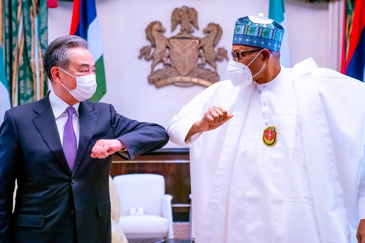 Yesterday I received Mr Wang Yi, State Councillor and Foreign Minister of the People's Republic of China. Nigeria is grateful to China for its support to us in infrastructure, defence, and others. China is helping us to reduce our severe infrastructural deficit, and we are glad.