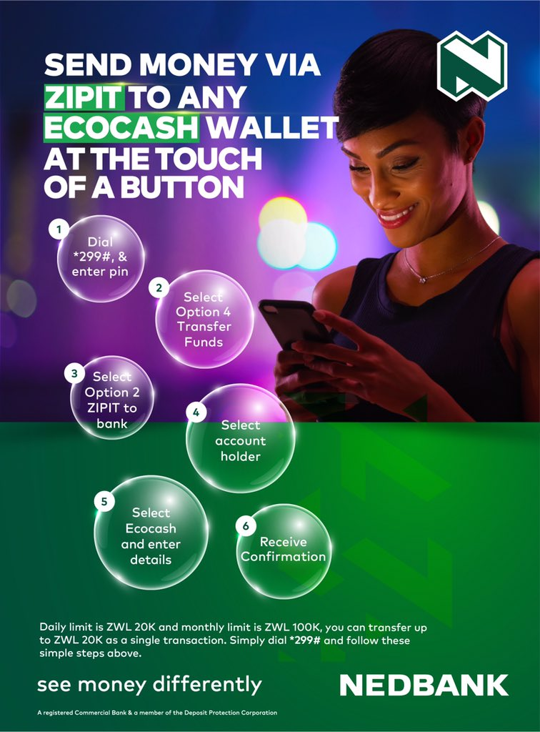 #bankfromhome during the Lockdown when you ZIPIT to Ecocash with Nedbank at the touch of a button! Dial *299# or use the Nedbank Mobile Banking App and start transacting online. @NedbankZimbabwe #SeeMoneyDifferently