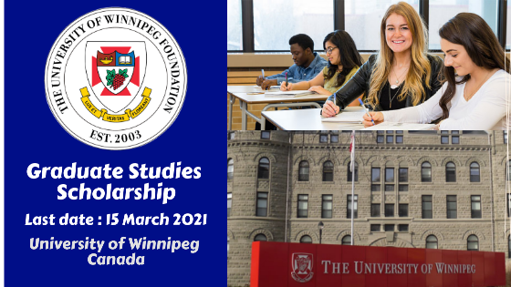 Graduate Studies Scholarship at The University of Winnipeg, Canada
