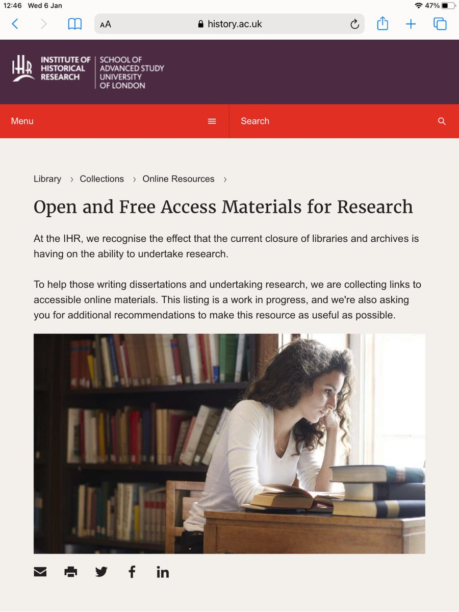 Dont forget: weve a free guide to online resources for historians & researchers history.ac.uk/library/collec… Includes details of 700+ sites to help while access to libraries & archives is limited. Created by @IHR_Library. Regularly updated. #twitterstorians #ecrchat #Lockdown3