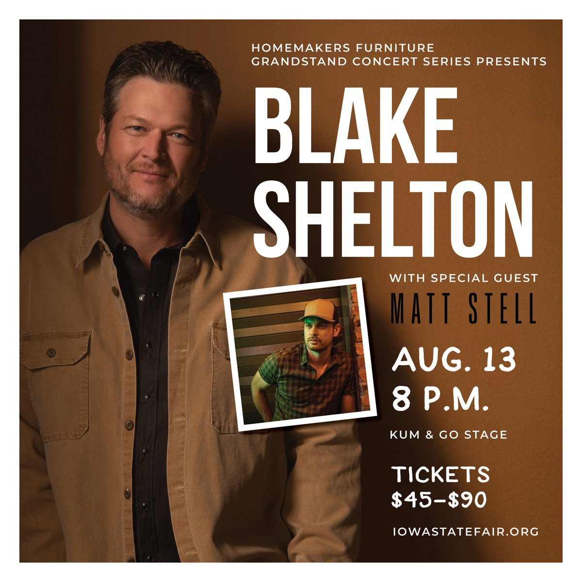 Excited to announce our first new concert of 2021 with @blakeshelton and special guest @MattStellMusic! 🎸🤠 They'll take the Kum & Go Stage on Aug. 13 at 8 p.m. Tickets go on sale this Friday, January 8 at 10 a.m. Visit  for more info! #Grandstand2021