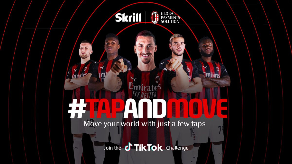 Move your world with just a few taps🌍  Head to TikTok to take part in our #TapAndMove challenge with @acmilan   Hit the link to follow our new TikTok page👉 https://t.co/sYSOCqVPMa  #Skrill #ACMilan #SkrillDay #MakeYourMoneyMove https://t.co/BMi4miWfM3