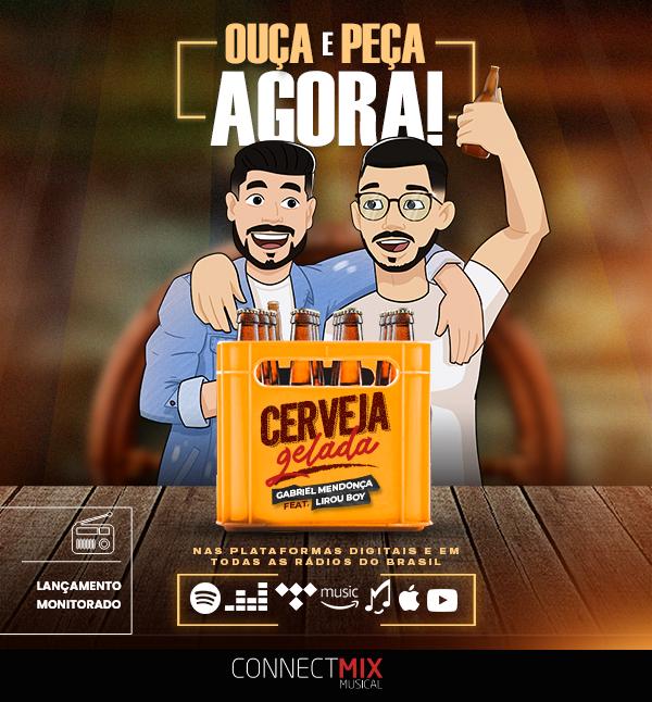 """Com composição de Lirou Boy e Andrey Vieira, """"Cerveja Gelada"""" chega às rádios nessa quarta! 😍  Confira agora na sua rádio favorita.  Acompanhe o desempenho da música através do nosso ranking ()  #gabrielmendonca #cervejagelada #connectmix #radios"""