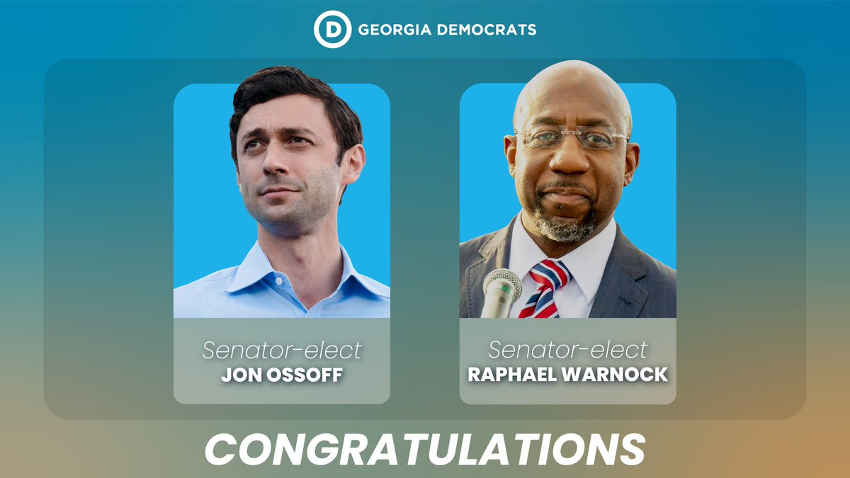 You did it! You elected the next Senators from Georgia, @ReverendWarnock and Jon @ossoff. A new blue Georgia is here, and it's here to stay. #gasen