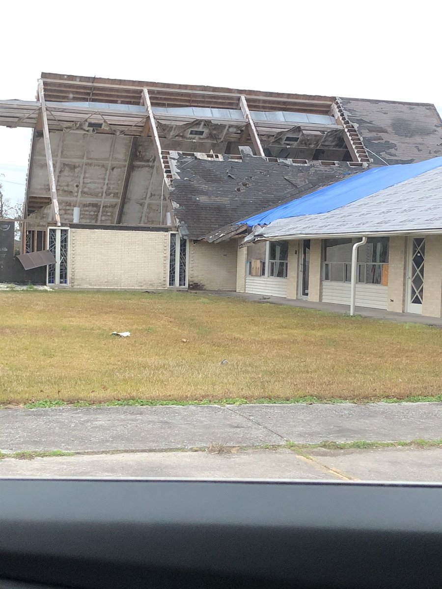 It's hard to describe the heaviness that comes with continuously seeing your community and city broken. These are pics that I see everyday as I drop my oldest off at school. #hurricanelaura #hurricanedelta #lakecharles #prayforlakecharles