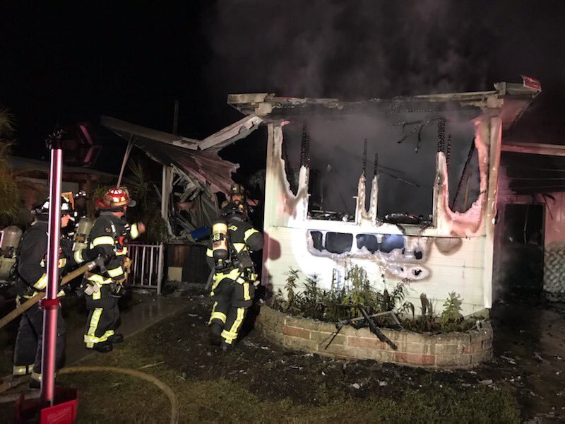 Late last night, our crews worked a mobile home fire in the 2200 block of Gulf-to-Bay Boulevard.  Thankfully, no injuries were reported.  The residence was a total loss.