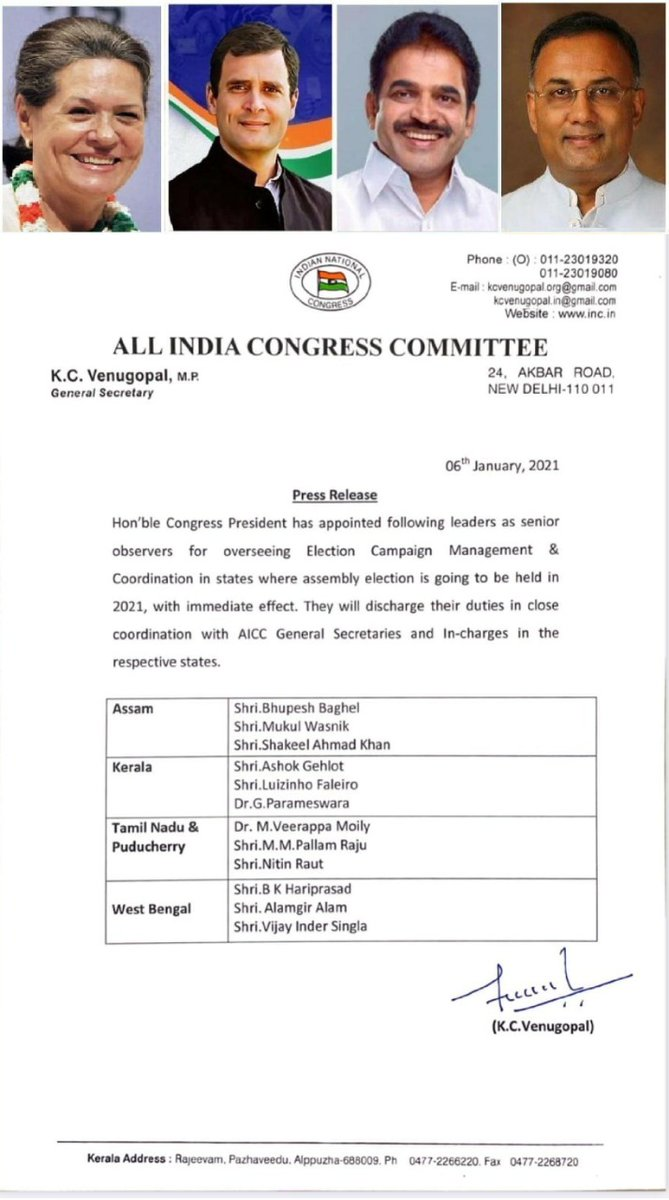 Heartily Welcome Hon CP Resp. #SoniaGandhi Ji appointing veteran @INCIndia Leaders Shri @moilyv , Shri @Pallamrajumm , Shri @NitinRaut_INC as Sr. Observers for overseeing Election Campaign Management & Co-ordination in #TamilNadu & in #Puducherry.  Look forward to their guidance.
