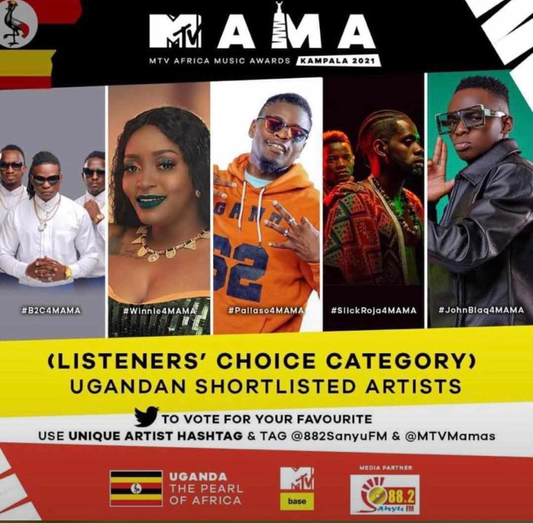 Listeners Choice Category, Uganda MTV MAMA Nominees
