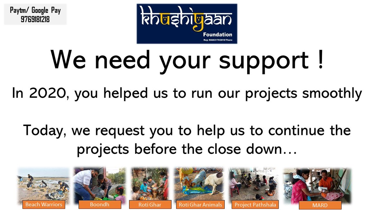 In 2020, you all have helped us to run our projects of uplifting the society smoothly.  Today, I request you all to contribute your bit to help us to continue projects before they crash 🙏   Please spread the word & contribute    @AUThackeray @priyankac19