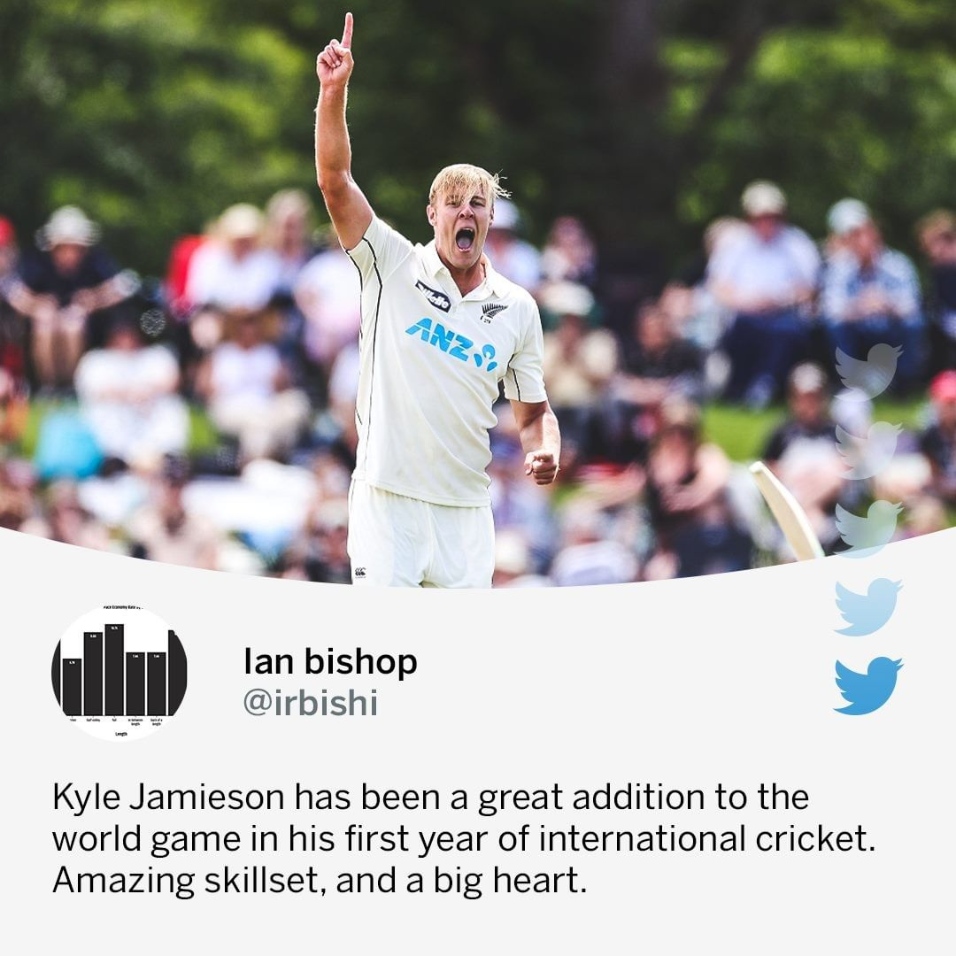 Kyle Jamieson since his Test debut last year: 36 wickets in 6 matches at an average of 13.27 🔥  #NZvPAK #NewZealand #NZvWI  #Cricket #ESPNCaribbean