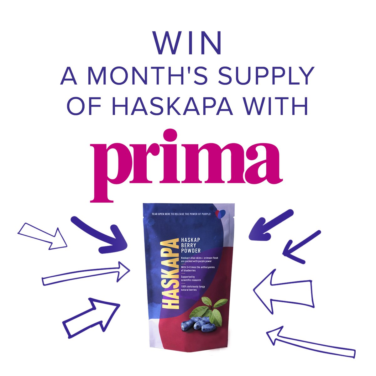 Here's another chance to win a months supply of Haskapa with @PrimaMag 💜 https://t.co/GOKAOycPDN  #giveaway #competition #competitionalert #veganuary #veganuary2021 #healthyjanuary #NewYearNewMe #healthy #superberry #superfood #haskap #haskapa #antioxidant #veganuaryuk #winthis https://t.co/PTTpAL4HcO