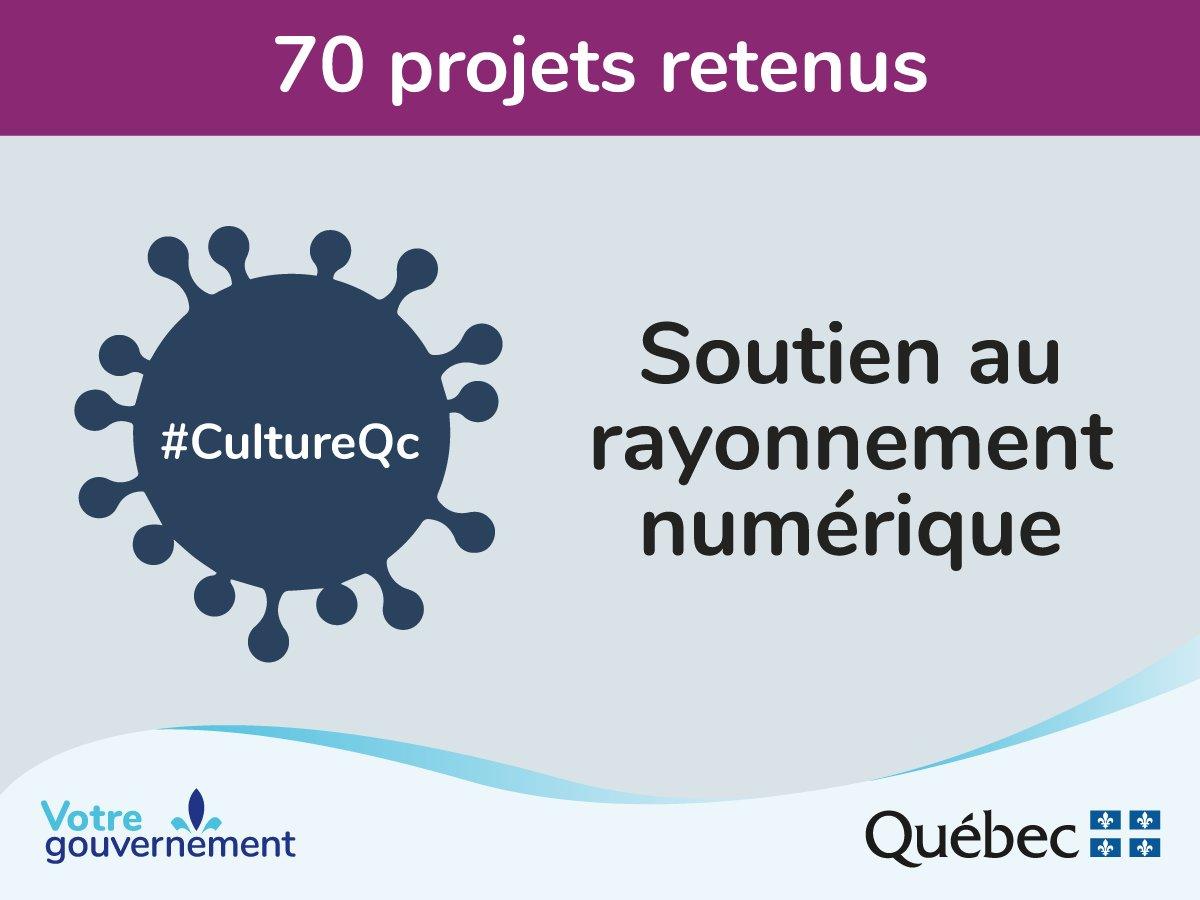 #Communiqué  [Plan de relance économique du milieu culturel]  Le @GouvQc investit 2,5 M$ pour soutenir le virage #numérique de 70 entreprises culturelles. Détails: http://bit.ly/soutien-rayonnement-numerique #CultureQc