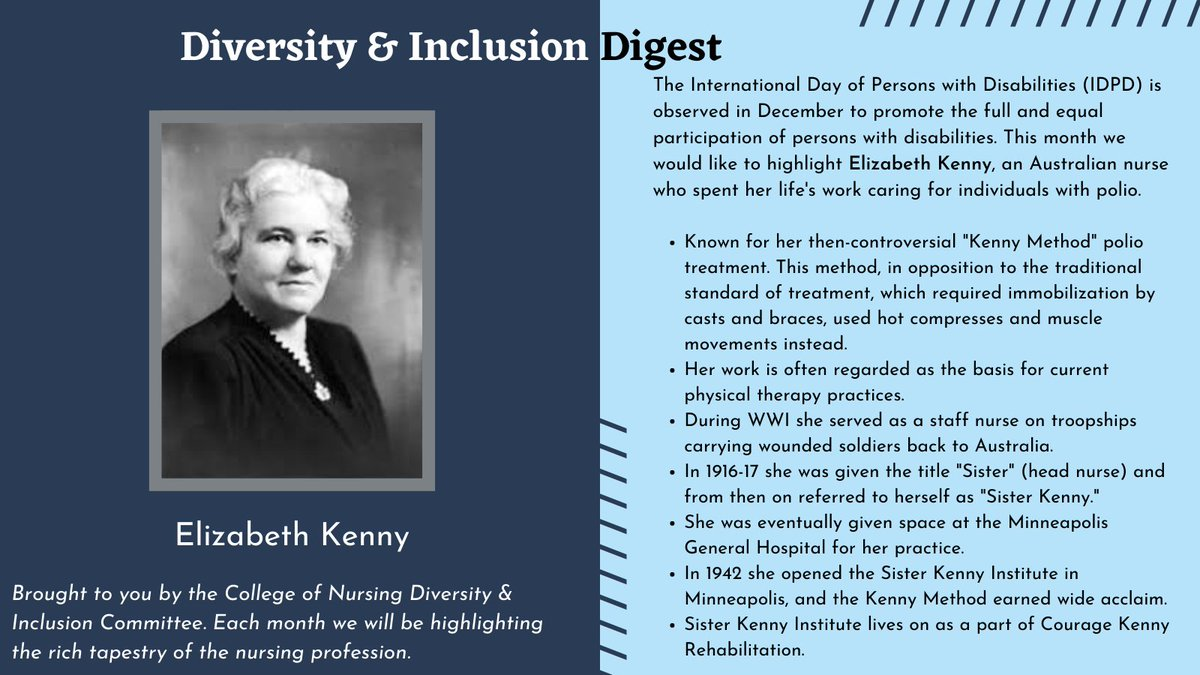 The International Day of Persons with Disabilities (IDPD) is observed in December, for that reason, this month we would like to highlight Elizabeth Kenny for the #Diversity & #Inclusion Digest. #IDPD