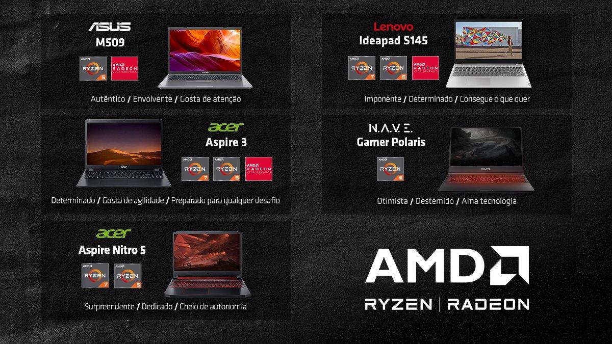 E aí #AMDLover, preparado para mais uma descoberta? Conta aí pra gente, qual notebook com processador #AMD é a sua cara? https://t.co/CLGcdJGV7B
