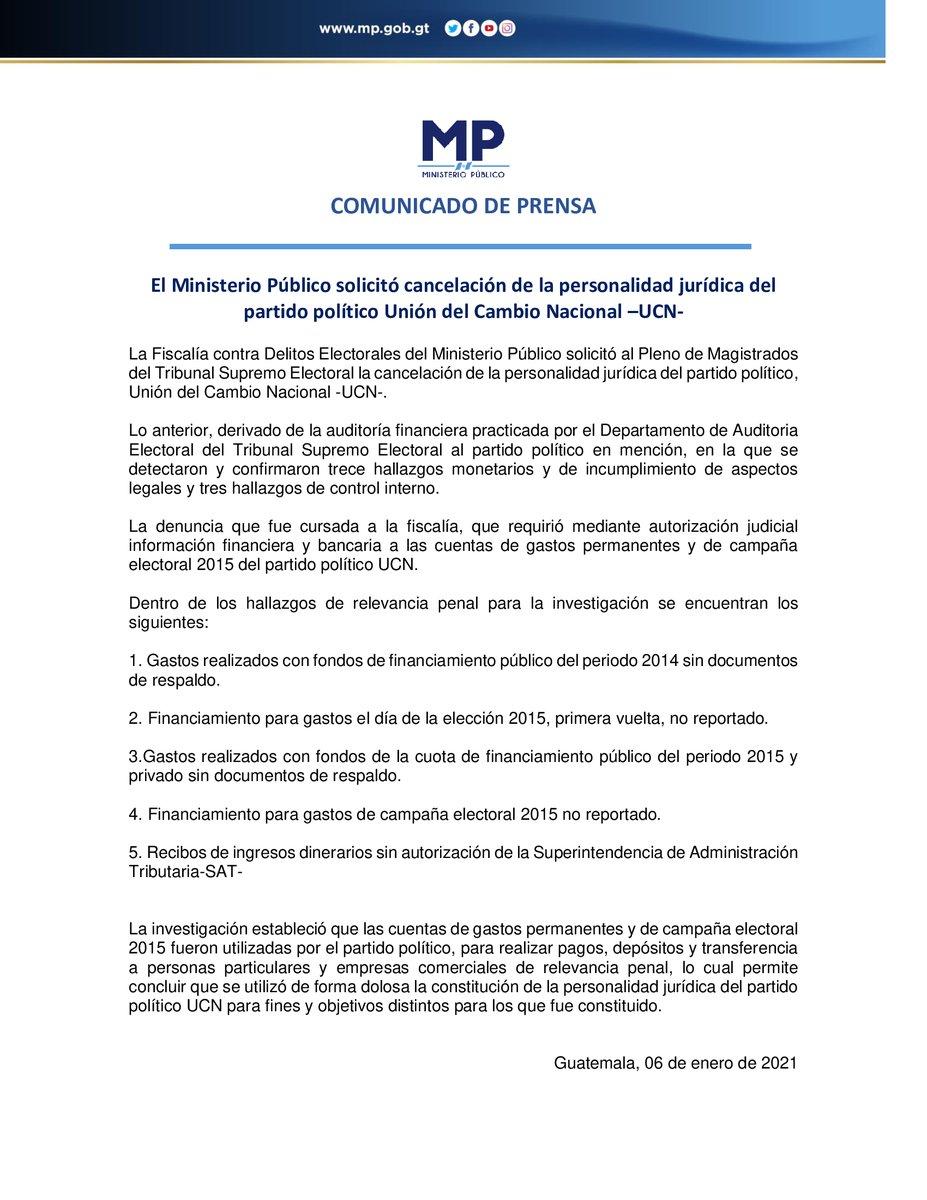 #ComunicadoDePrensa MP solicitó cancelación de la personalidad jurídica del partido político Unión del Cambio Nacional –UCN-