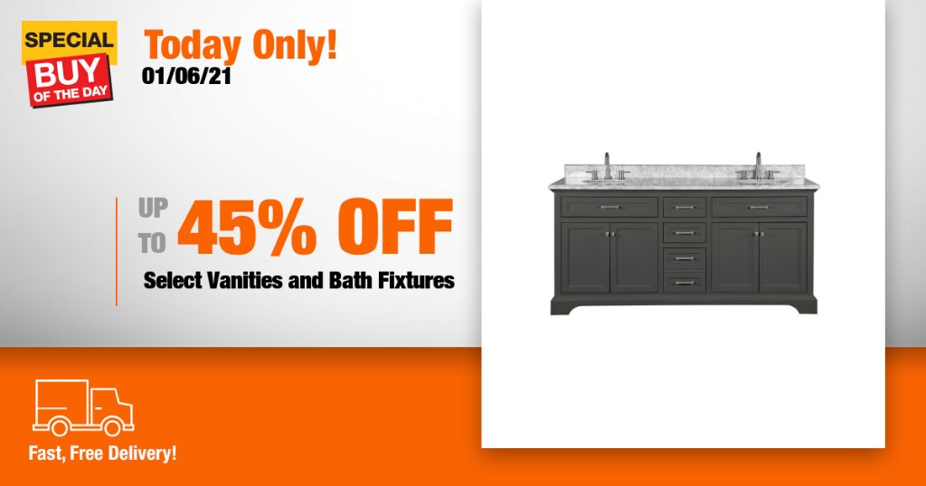 Elevate your bathroom with savings on select vanities and bath fixtures from Home Depot's online only Special Buy of the Day https://t.co/y7XwIUy1n2 https://t.co/shlPGOUu9G