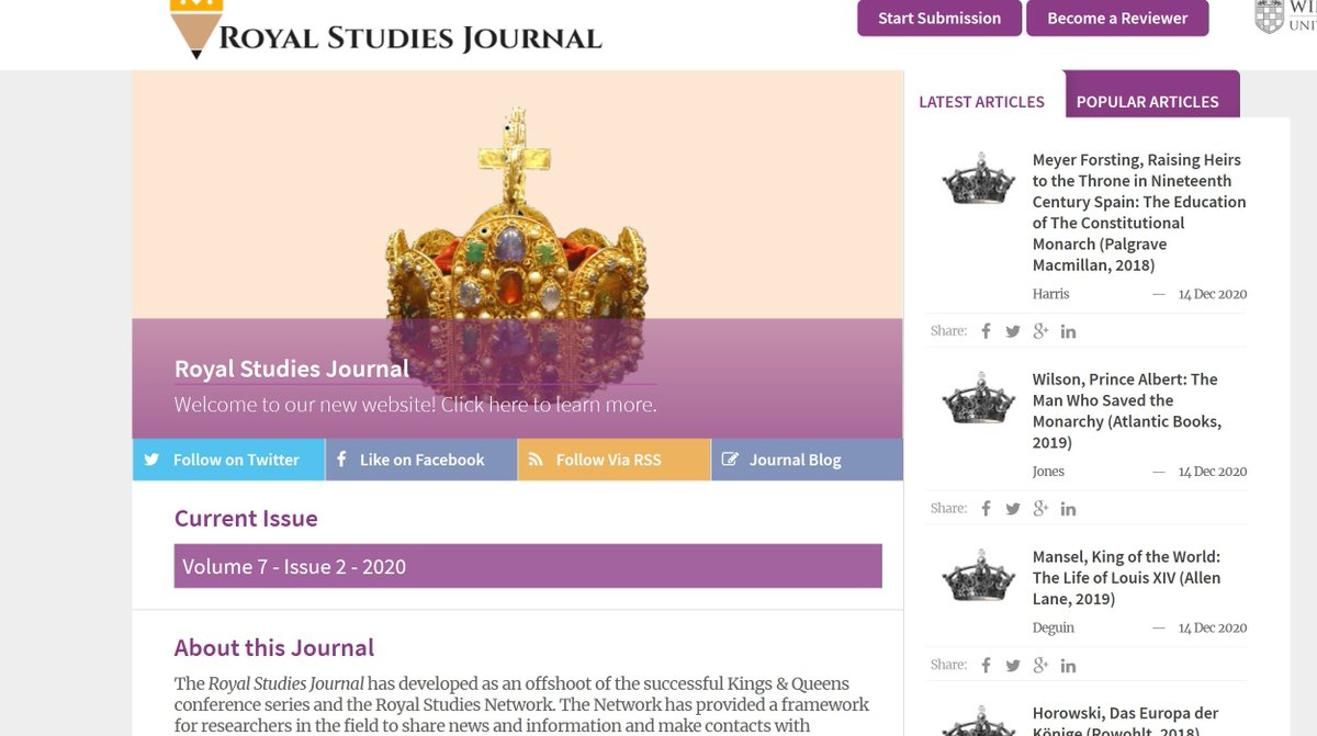 Latest special issue of Royal Studies Journal - Gender and monarchy incl. Australia, Denmark, Belgium, Spain, Brunei and Japan. @royalstjournal
